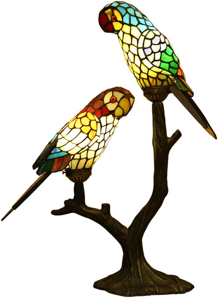 Makenier Vintage Tiffany Style Table Lamp Bedside Lamp Nightstand Table Lamp Stained Glass Parrot Tree Branch Design for Bedroom, Living Room, Kids Room, Cafe, Bar, Studio