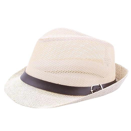 2deea08be60b8 2018 Summer Men Women Adjustable Solid Mesh Jazz Hats Trilby Gangster Cap  Beach Sun Straw Hat