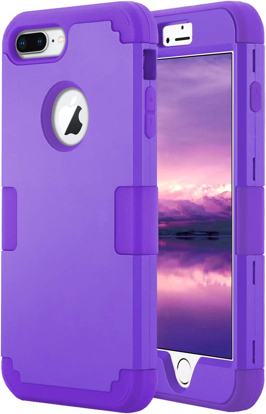 Petocase Compatible iPhone 8 Plus Case, Heavy Duty Slim Shockproof Drop Protection 3 in 1 Hybrid Hard PC Covers Soft Rubber Bumper Protective Case for iPhone 8 Plus / 7 Plus - Purple
