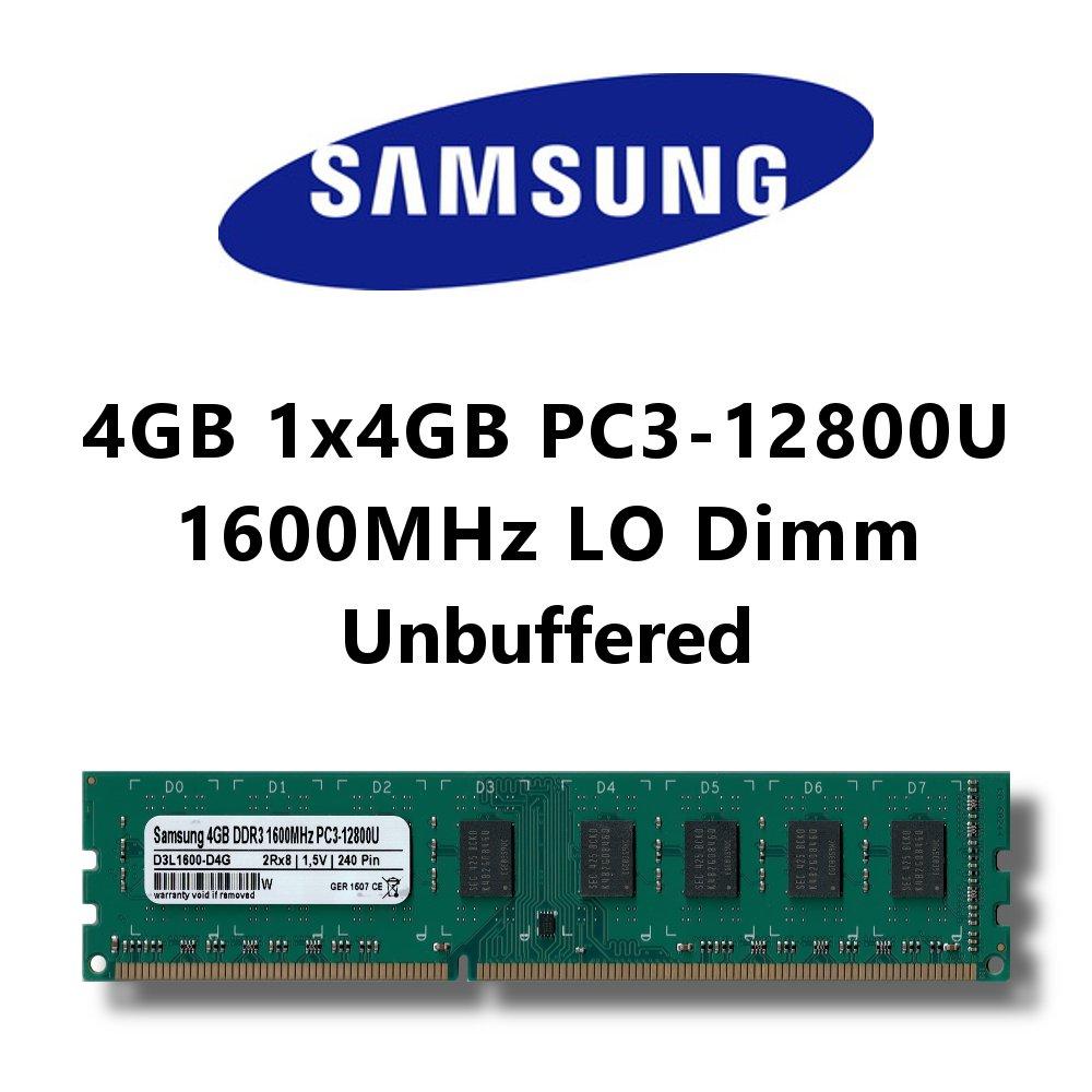 Samsung 4GB (1x 4GB) DDR3 1600MHz (PC3 12800U) LO Dimm Computer PC Desktop Arbeitsspeicher RAM Memory D3L1600-D4G-S3-FBA