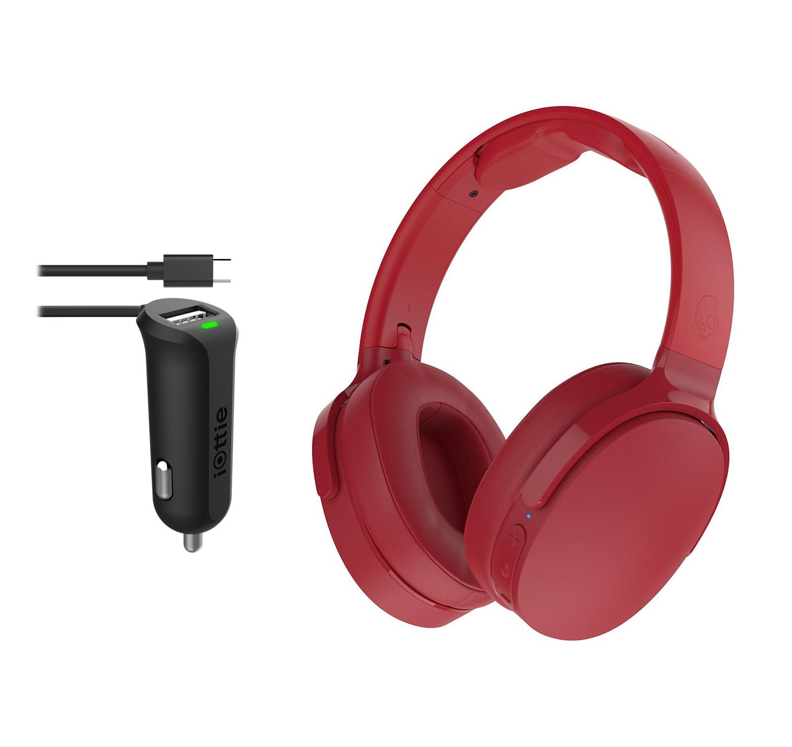 Skullcandy HESH 3 Red Wireless Bluetooth Headphones With iOttie RapidVolt Micro USB Car Charger
