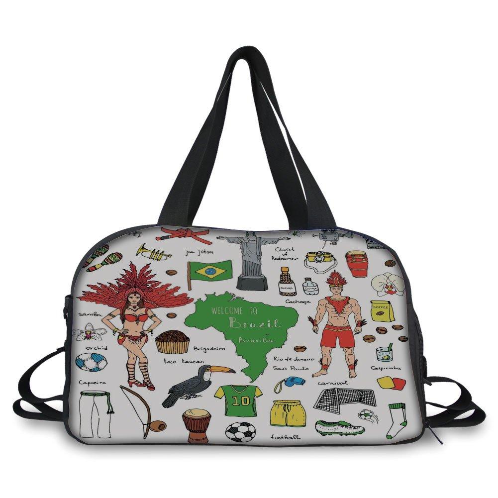 iPrint Travel handbag,Modern,Brazilian Symbols Rio Carnival Samba Dancer Flag the Redeemer Statue Print,Multicolor ,Personalized