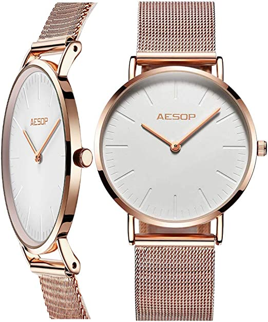 AESOP Gold Mesh Watch Women,Thin Wrist Watches for Ladies,Big Face Watch for Women,Fashion Classic Woman Simple Casual Watch, White and Rose Gold