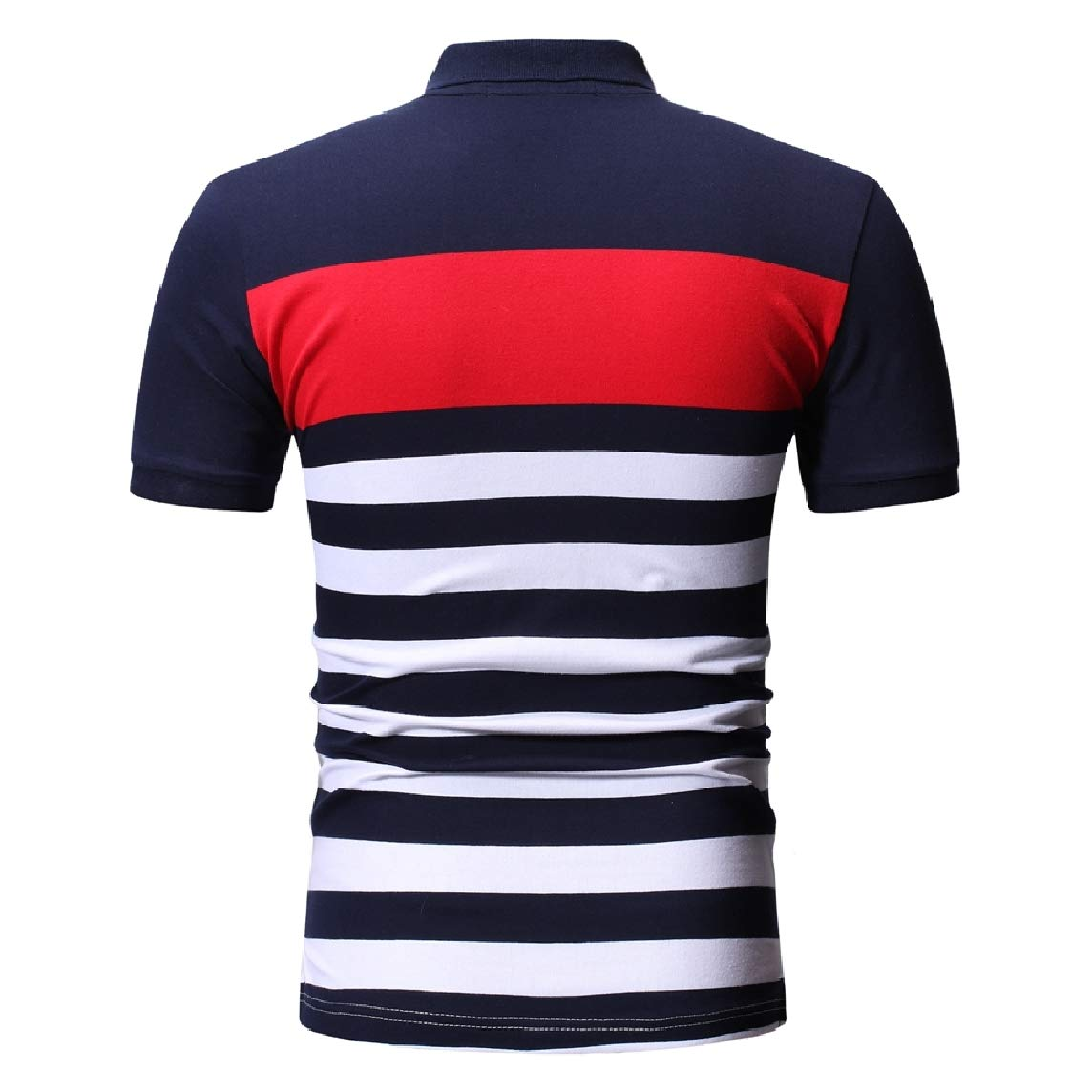 Mfasica Men Lapel Cozy Short-Sleeve Hit Color T-Shirts Polo Shirt