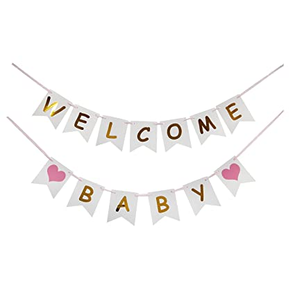 amazon com lovely biton tm tri color welcome baby birthday banner