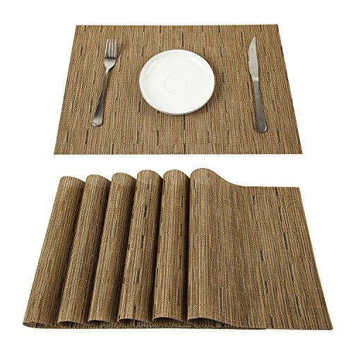 PAUWER Placemats Set of 6 Crossweave Woven Vinyl Placemat for Kitchen Table Heat Resistant Non-slip Kitchen Table Mats Easy to Clean (6, khaki) by Pauwer