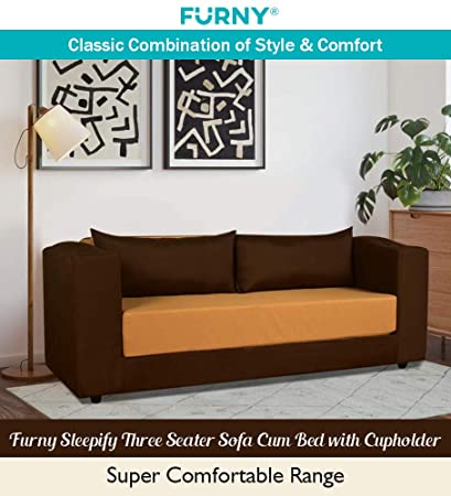 Excellent Furny Sleepify Three Seater Sofa Cum Bed With Cupholder 3 Years Warranty 36 Density Foam Perfect For Daily Use Sofa Cum Bed With Polyester Ncnpc Chair Design For Home Ncnpcorg