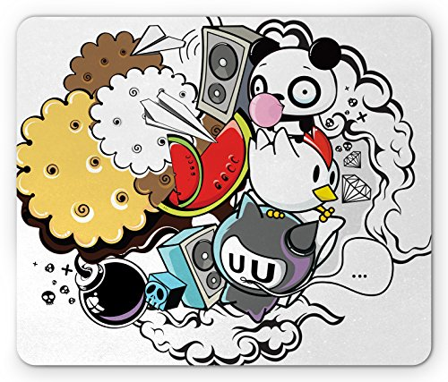 Ambesonne Indie Mouse Pad, Animal and Food Themed Composition Crazy Doodle Panda Bird Cat Watermelon, Standard Size Rectangle Non-Slip Rubber Mousepad, Multicolor ()