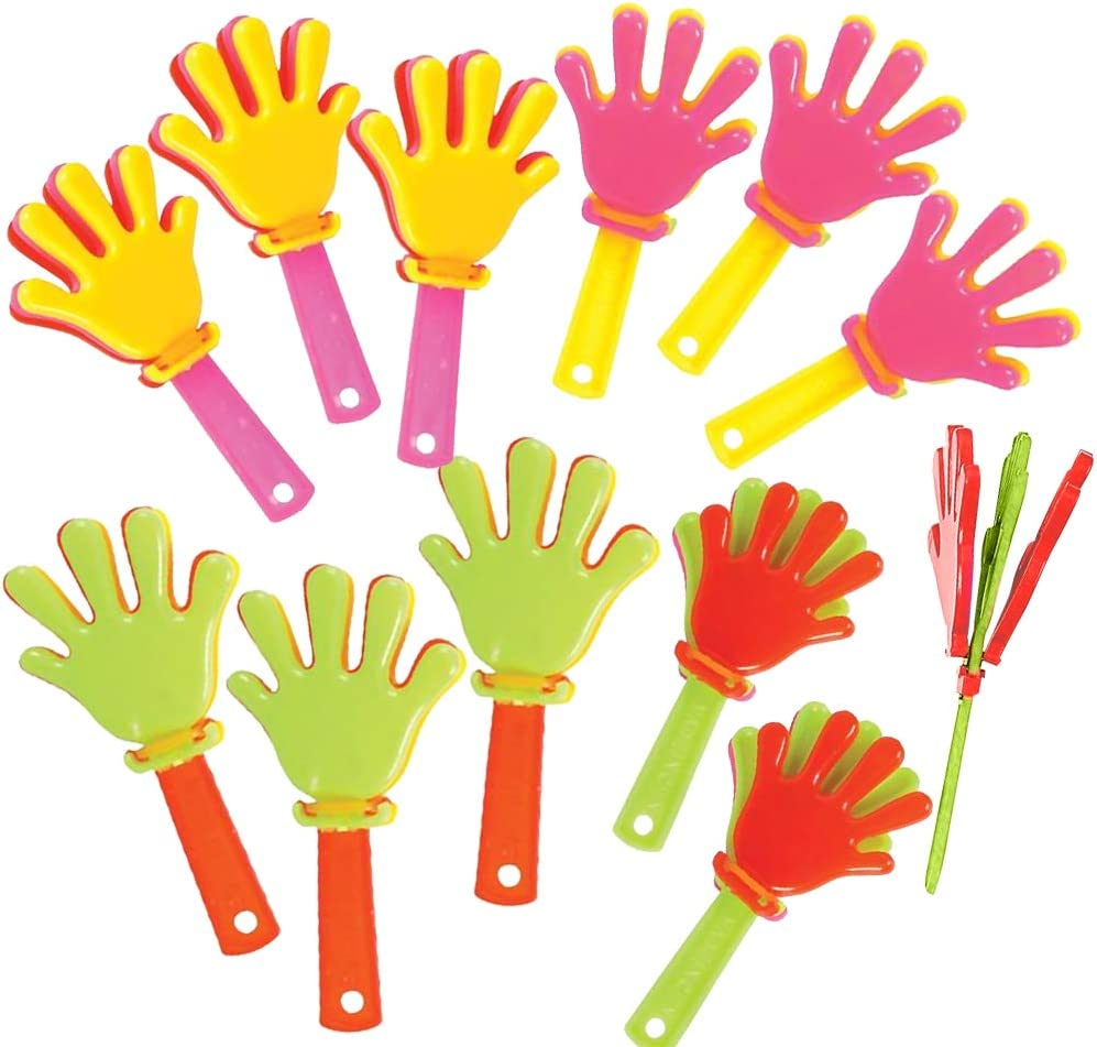 ArtCreativity Mini Hand Clappers Noisemakers - Pack of 48 - 3 Inches Assorted Plastic Noisemakers for Sports, Parties, and Concerts - Best Birthday Party Favors and Goodie Bag Fillers for Boys and Girls: Toys & Games