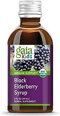Gaia Herbs, Gaia Kids Black Elderberry Syrup, Delicious Daily Immune Support with Antioxidants, Organic Sambucus Elderberry, 3 Ounce
