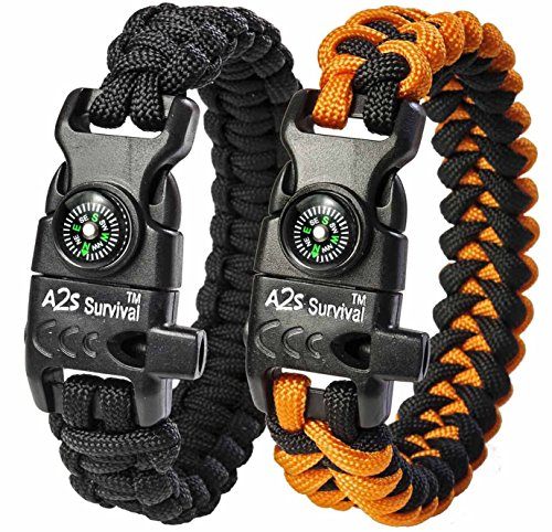 A2S Paracord Bracelet K2-Peak Series – Survival Gear Kit with Embedded Compass, Fire Starter, Emergency Knife & Whistle – Pack of 2 - Quick Release Hiking Gear (Black / Orange 8.5
