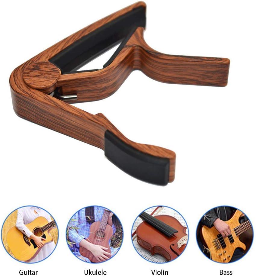 Cejilla para guitarra acústica, guitarra eléctrica, 6 cuerdas, ukelele, cejilla folk, guitarra pop nogal, color palisandro