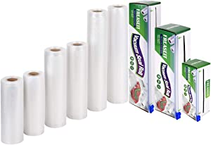 "Vacuum Sealer Bag Rolls for Food, BPA Free Heavy Duty Plastic Sealer Vacuum Packing Bags for Food Saver (2rolls6""x16.5'/2rolls8""x16.5' /2rolls11""x16.5')"