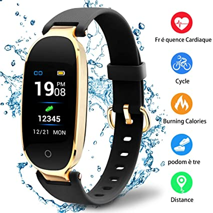Pulsera Inteligente para mujeres Monitores de ritmo cardíaco Seguidores de la actividad de paso Pulsera inteligente