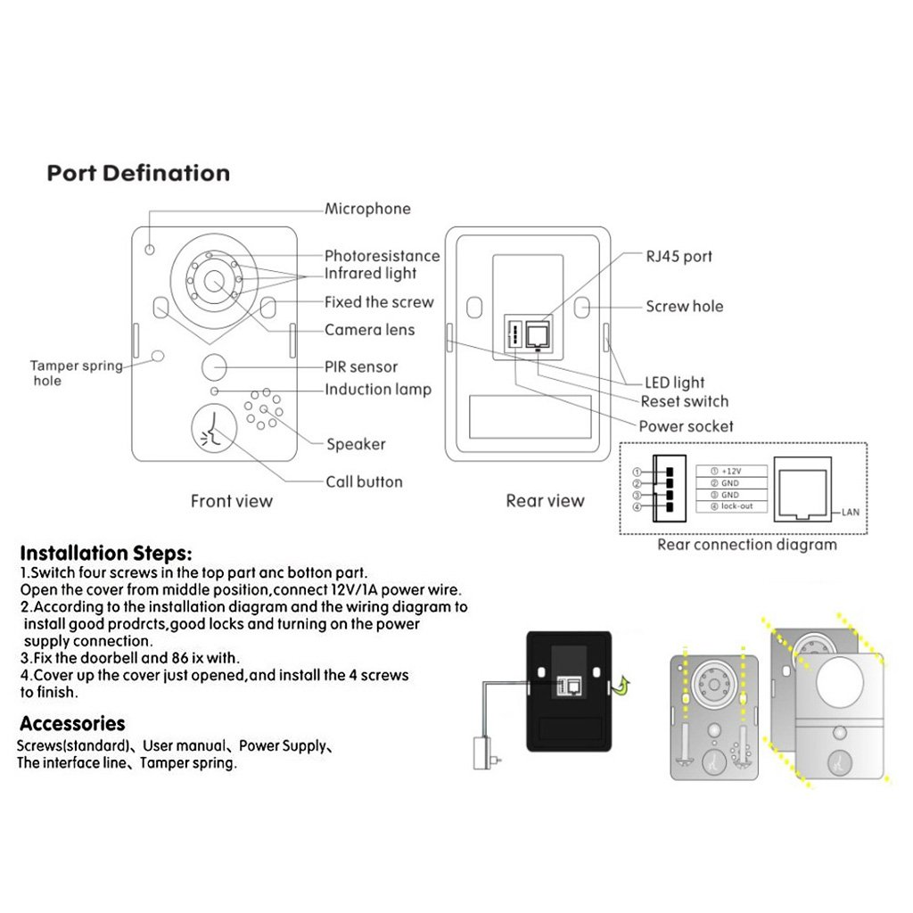 Wireless Wifi Visual Two Way Intercom Doorbell Ip Video Camera Phone Wire Wiring Diagram Elektronik