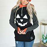 Malbaba Womens Halloween Pumpkin Face Long Sleeve
