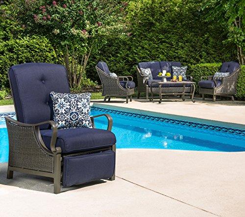 Hanover Outdoor Ventura Outdoor Luxury Recliner, Navy Blue (Boy Lazy Chair Cushions Patio)