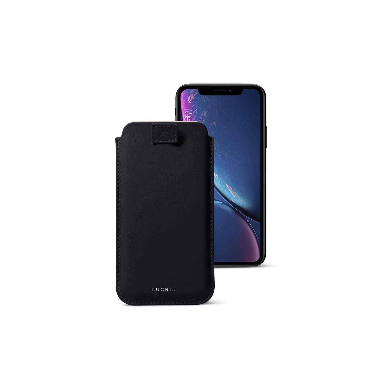 Lucrin - Leather Case with Pull Tab Compatible with iPhone XR and Wireless Charging - Black - Genuine Leather by Lucrin