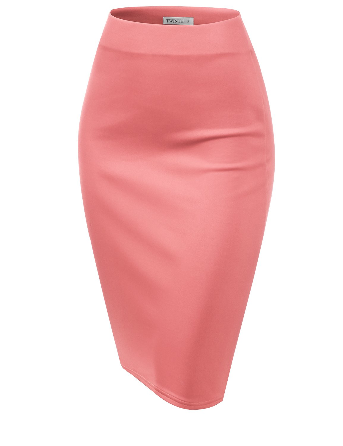 CLOVERY Slim Vintage Pencil Skirts Below Knee Skirt Coral 3XL Plus Size