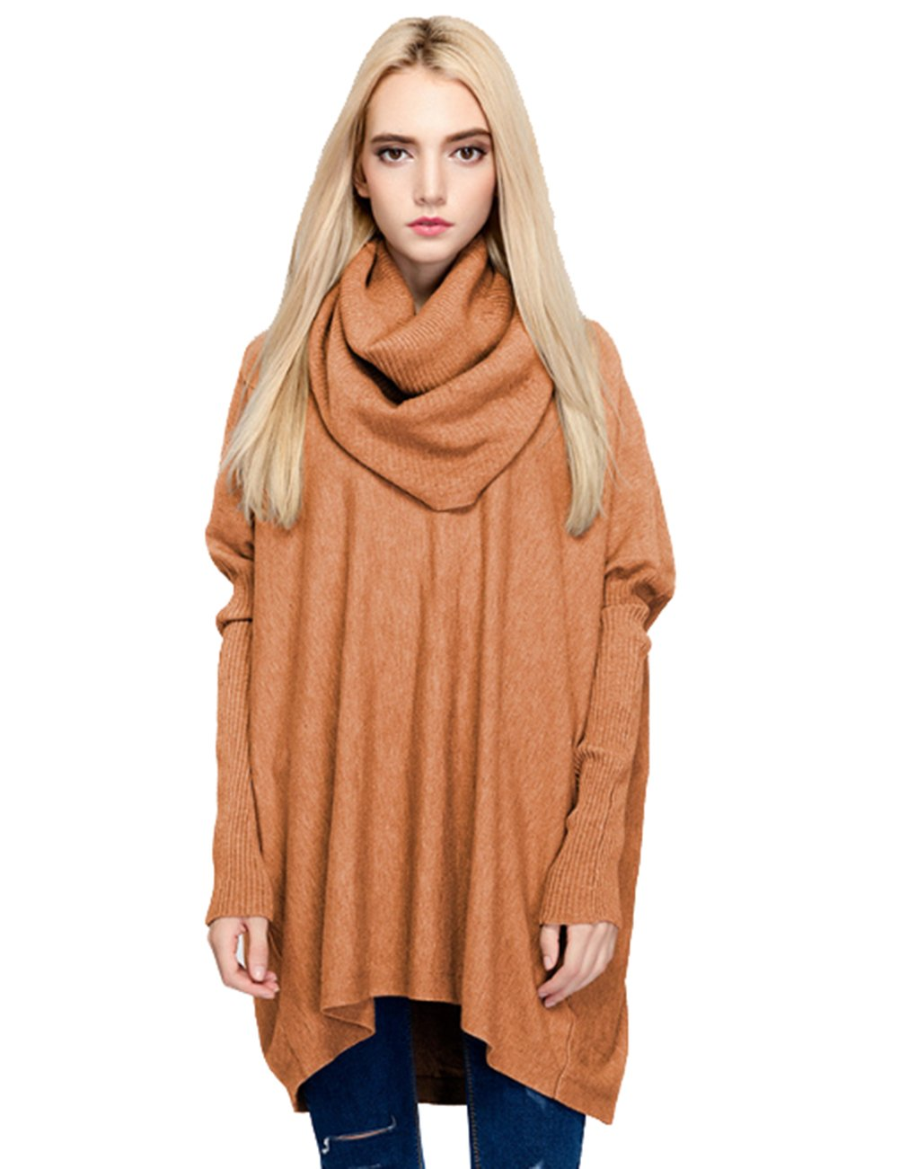 SalenT Womens Turtleneck Oversized Pullover Sweaters Loose Fit Knit Sweater Tunic Top (Coffee)