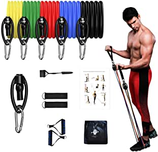 SHEEPSKIN ELITE 11 PCS Resistance Bands Set Exercise Bands with Door Anchor Handles Carry Bag Legs Ankle Straps for Resistance Training Physical Therapy Home Workout