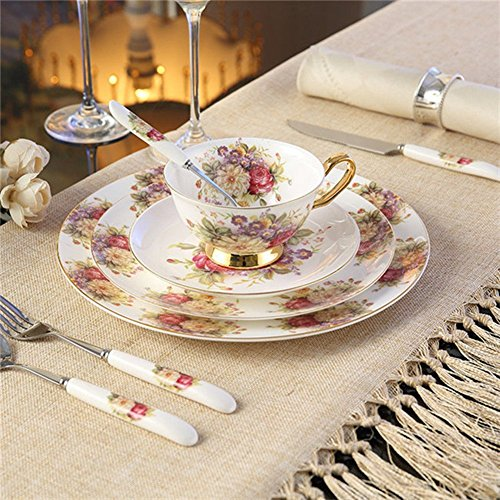 NDHT Ceramic 8-Pcs Green Camellia Dinnerware Set dinner set with dinner plates, salad plates,dinner knife,dinner fork,tea Cup,Saucer,coffee Spoon,dinner Spoon,White & Red,8 pcs,with Gift Box