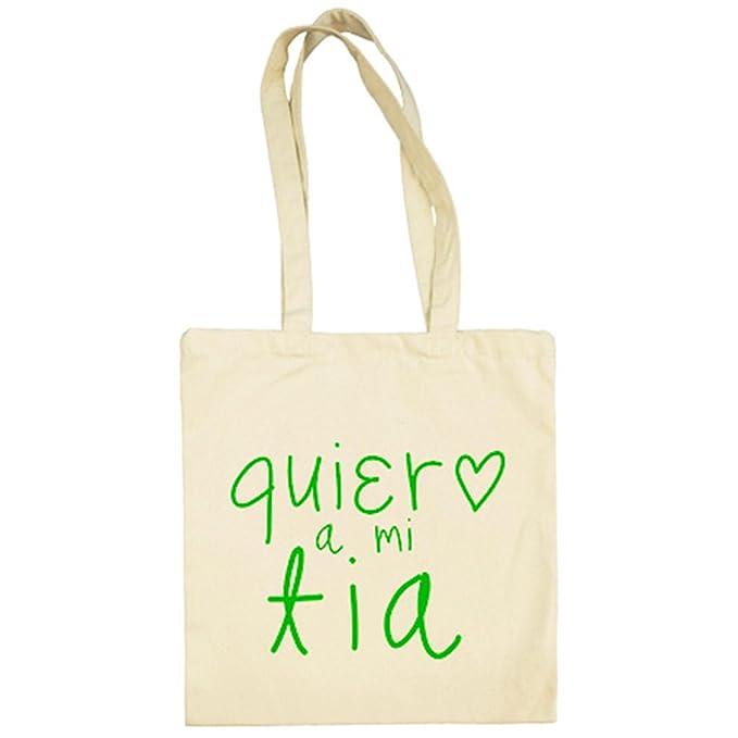 Bolsa de tela Quiero a mi tía - Beige, 38 x 42 cm: Amazon.es ...