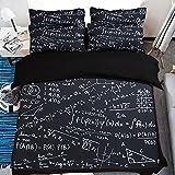 FAITOVE Mathematics Equations Microfiber 3pc 104''x90'' Bedding Quilt Duvet Cover Sets 2 Pillow Cases King Size