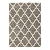 "Sweet Home Stores Cozy Shag Collection Moroccan Trellis Design Shag Rug Contemporary Living & Bedroom Soft Shaggy Area Rug,   Grey & Cream,  60"" L x 84"" W: more info"