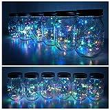 6 Pack Mason Jar Lights 20 LED Solar Colorful Fairy