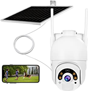 Security Camera Outdoor,FUVISION Solar Battery Powered, Home Video Surveillance System, PIR Motion Detection, Colorful Night Vision, 2-Way Audio, Pan Tilt, IP65, Cloud/SD Storage