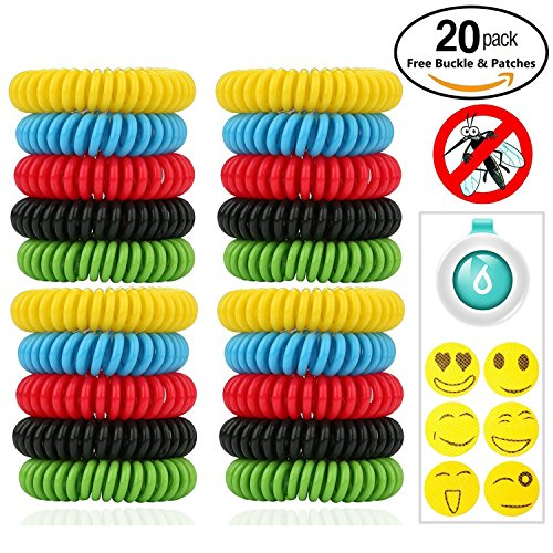 Mosquito Repellent Bracelet,ROMUCHE Insect Repellent Bracelets 22pcs with Buckle and Patches-100%Safe Natural Non-Toxic Travel Insect Repellent Bands-Waterproof Indoor Outdoor Protection Adults&Kids