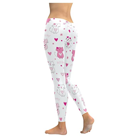 e6bc58313db InterestPrint pink cute cats womens Low Rise yoga plus size Leggings  XXS-5XL at Amazon Women s Clothing store