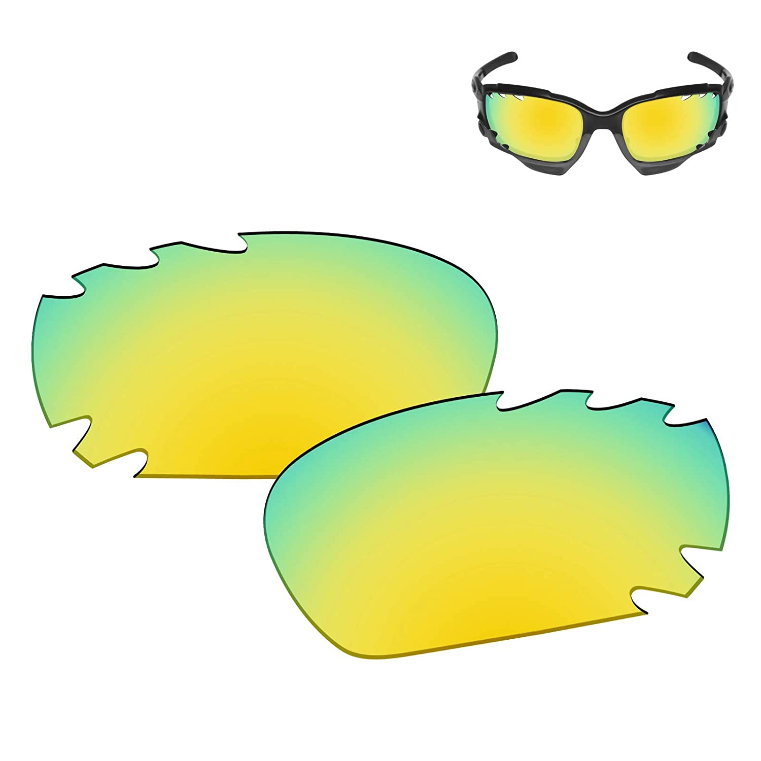 9c8094560d Amazon.com  Galvanic Replacement Lenses for Oakley Racing Jacket Jawbone  Vented Sunglasses - 24k Polarized  Clothing