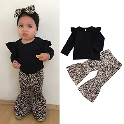 12825685fe97 Amazon.com - Fheaven 2Pcs Toddler Baby Girl Ruffed Tops T-Shirt + ...