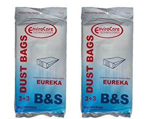 6 Eureka B & S Allergy Canister Vacuum Bags + 6 Filters 1700 3700, Powerteam Series Vacuum Cleaners, 52329, 52329A-6, 52329-12, 54922-10, 1700 and 3700, 1780A