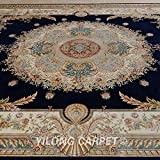 Yilong 8.5 x11.5  Handmade Rugs Classic Oriental Persian Medallion Design Hand Knotted Living Room Carpet (Midnight...