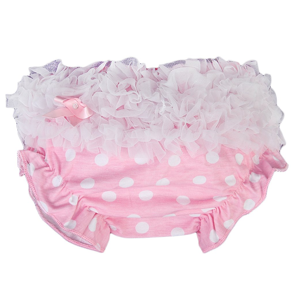 Baby Girl Ruffle Panties Bloomers Diaper Cover with Dots S (Pink) L-FENG-UK STK0112010492