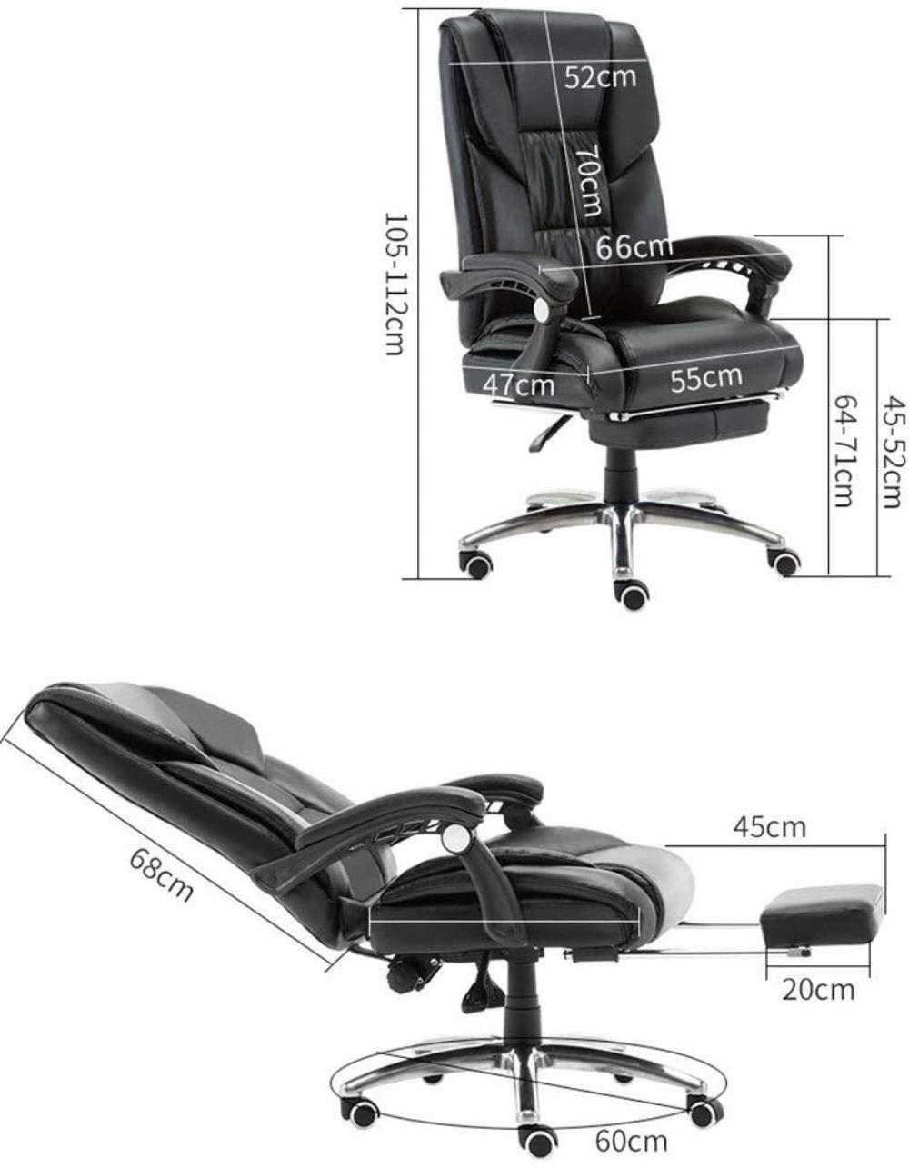 THBEIBEI Executive Recline högt ryggstöd tupplur stol datorstol stor och tjock ergonomisk kontorsstol 170 ° lutning och teleskopisk fotstöd skrivbordsstol (färg: svart) Svart