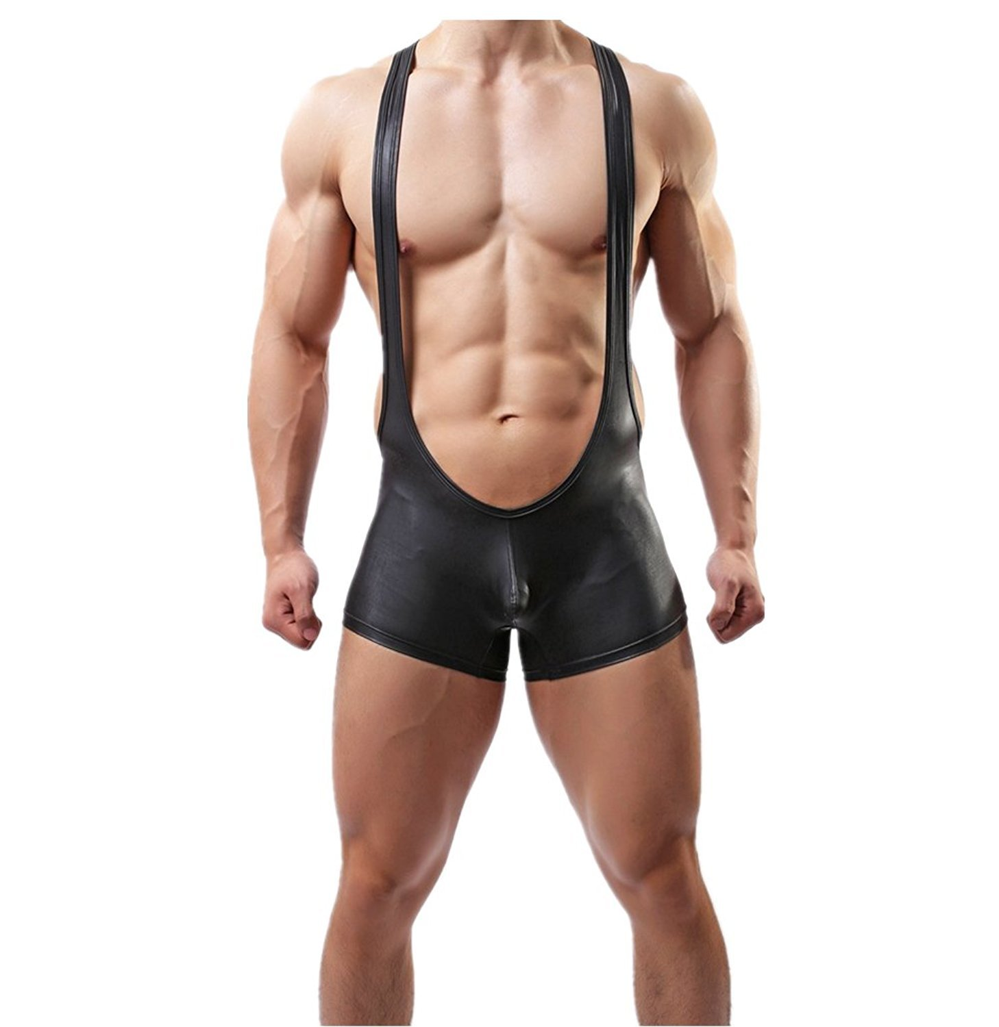 Iffee Men's Leather Look Wrestling Singlet Bulge Pouch Briefs Leotard Bodysuit