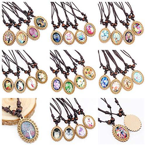 LOT 10 pcs Classic Retro Flower Animal Pattern Glass Wood Pendant Necklace -
