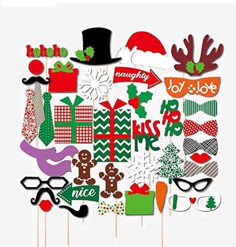 Christmas Photo Booth Props Decorations Kit 39 PCS Accessory For Family Theme Holiday Party Funny DIY Images Mask Kits On Sticks By Neodot (Kits Christmas Card For Making)