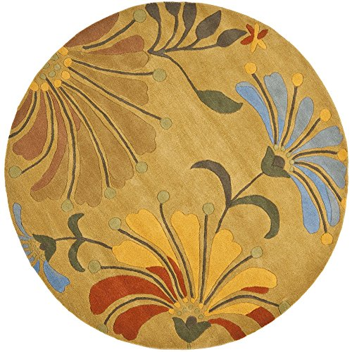 Safavieh Soho Collection SOH826A Handmade Golden Olive Premium Wool Round Area Rug (6' Diameter)
