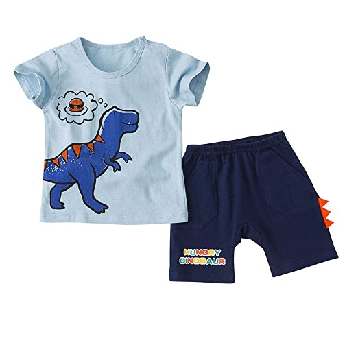 fe843708fe9d Image Unavailable. Image not available for. Color: Little Boy Short Set  Summer Cotton Clothing Set Cartoon Dinosaur T-Shirt Short Sleeve +