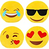 Dreampark Emotion Pillow Set, 4 Pack Smiley Pillow Emoticon Cushion Stuffed Plush Round Yellow Soft Pillow Valentines…