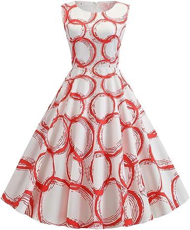 Amazon Com Einccm Summer Dress 2019 Robe Vintage Dress Women Print Sleeveless Big Swing 1950s 60s Retro Rockabilly Party Dresses Vestido Clothing
