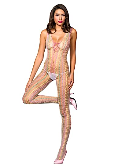 db06dd41ea2 Amazon.com  Music Legs Women s Multi Colored Crochet Crotchless Bodystocking  Lace Up Front
