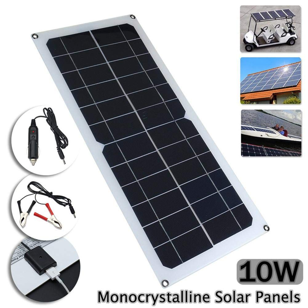 10W Solar Panel Charger with DC 5521 Cable for 12V 5V Car Boat Motor Battery Charger, Portable and Highly efficient Solar Panel USB Charger Yunn