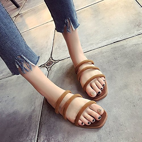 WHL Shoes President Cool Slippers Casual Minimalist-Style Drag The Word Candy Colored Flat Base Light Brown 38 -