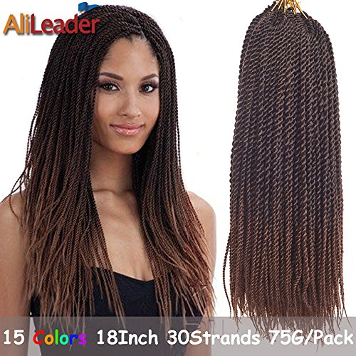 [AliLeader 18 Inch 8pcs Ombre 30 Senegalese Crochet Braids 30 Strands/Pack Synthetic Twist Hair For Women] (Twist Pack)